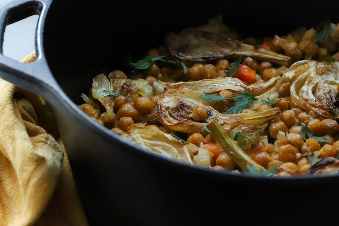 Lemony chickpeas with fennel