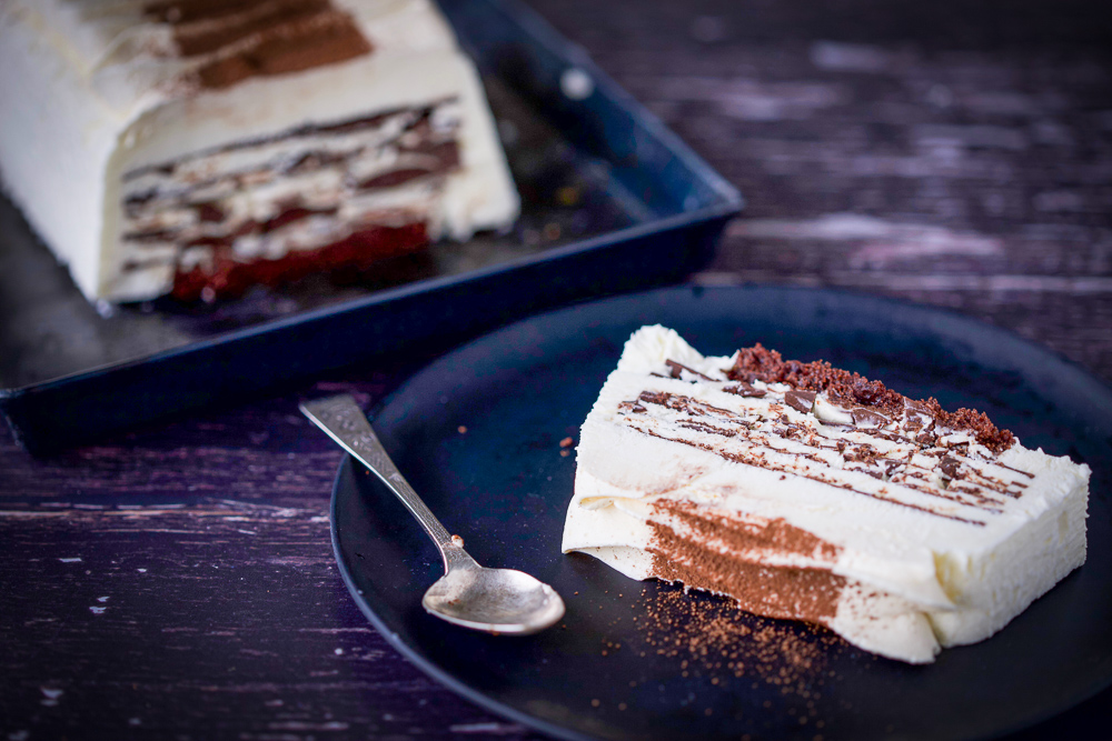 Meringue Ice Cream Torte with Chocolate Layers