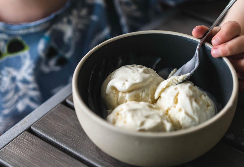 coconut ice cream in bowl