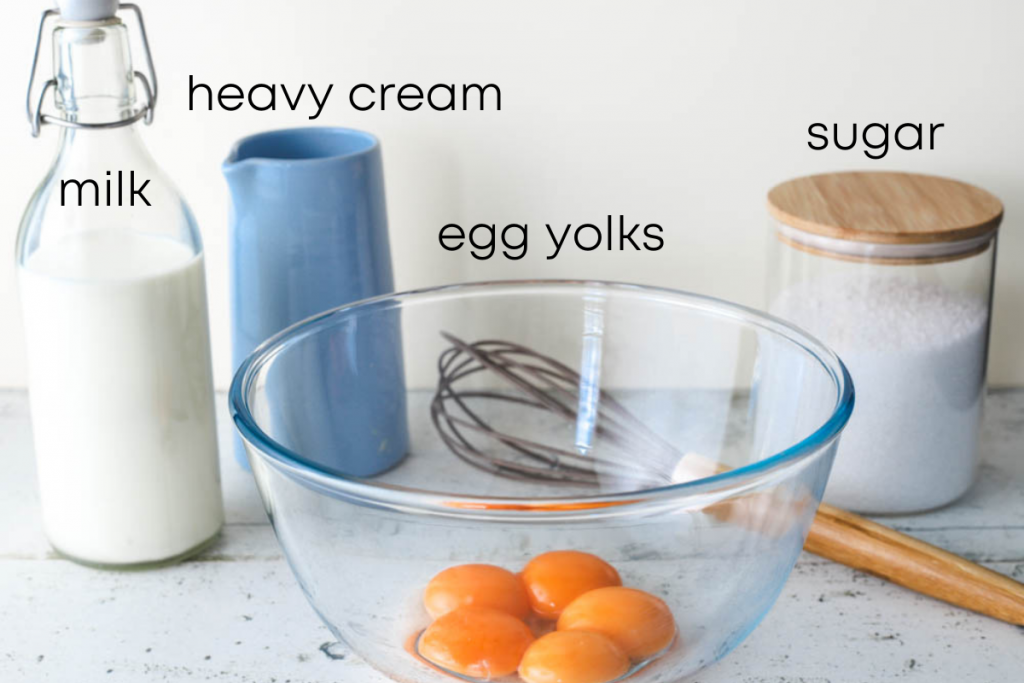to show the ingredients of custard ice cream