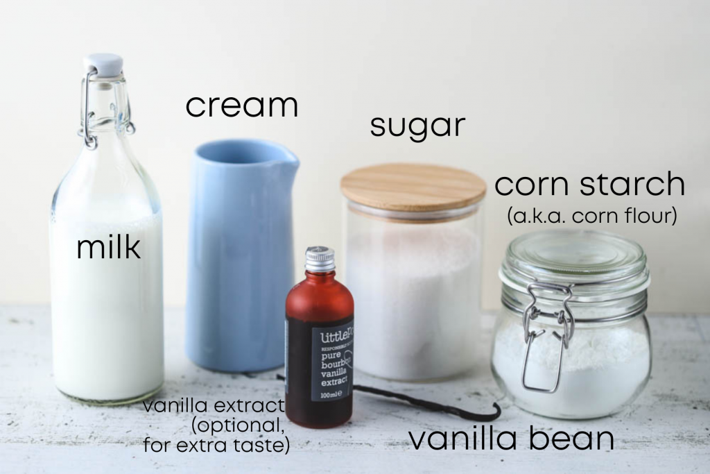 to show the ingredients for eggless vanilla bean ice cream