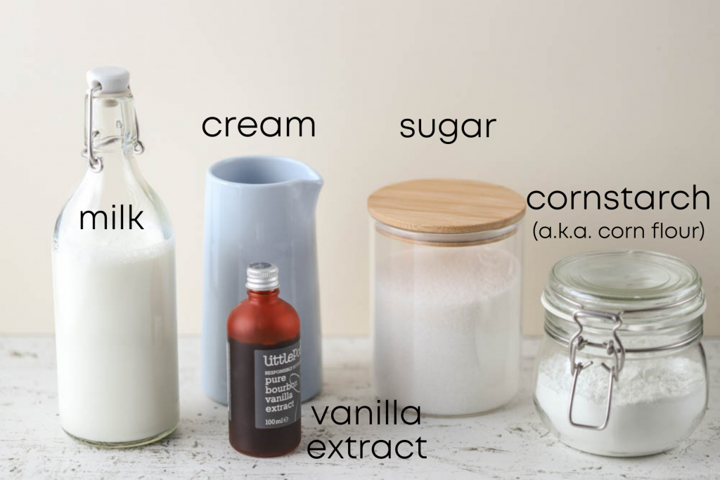 to show the ingredients for vanilla ice cream with corn starch (eggless)