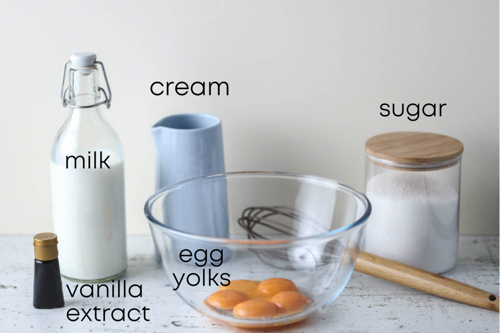 to show the ingredients of vanilla ice cream with egg yolks (custard)